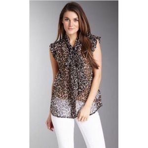 NWT French Connection Animal Print Tie Neck Blouse